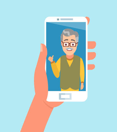 Vector of a hand holding smartphone having a video call with a senior person Vector Illustration