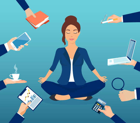 Vector of a businesswoman meditating to relieve stress of a busy office life Ilustración de vector