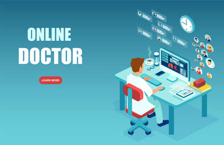 Online medical service concept. Vector of medical professional, a doctor making diagnosis, giving consideration to patients via modern technology, internet website  Stock Illustratie