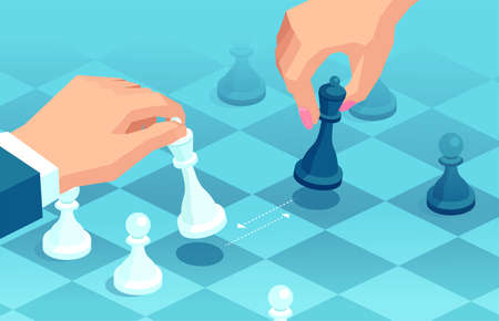 Vector of a man and woman making strategic moves in chess game Иллюстрация