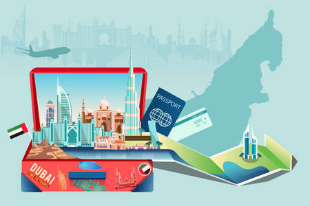 Business travel and tourism to Dubai concept. Vector of a luggage with modern buildings, landmarks and city skyline   イラスト・ベクター素材