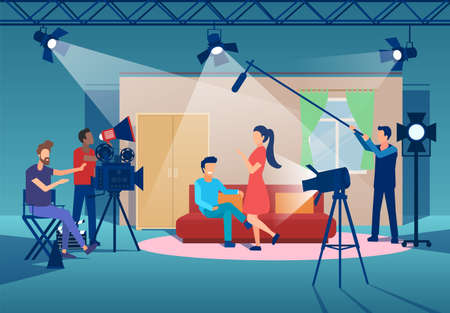 Vector of a film production with cinema people, camera man, director, actors and a boom operator