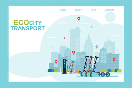 Vector of an electric scooter station, eco city transportation, sharing service concept Vecteurs