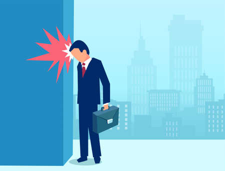 Vector of a stressed business man banging his head in frustration against a wall Ilustração