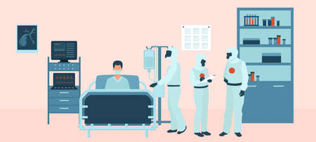 Vector of a medical team in personal protective gear assisting, treating a patient in intensive care unit Vectores