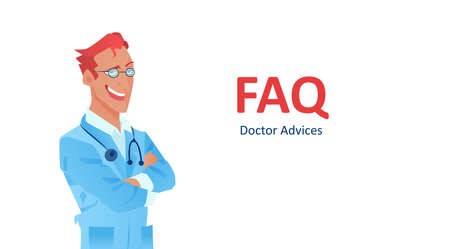 Vector a smiling doctor and FAQ on white background