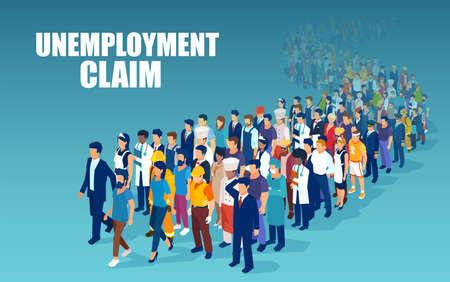 Vektor einer Menschenmenge verschiedener Berufe, die in einer Reihe stehen, um Arbeitslosigkeit zu beantragen