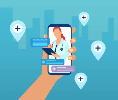 Vector of a hand holding a smartphone with a doctor on a screen and chat icons. Online medical consultation and advise service concept Vettoriali