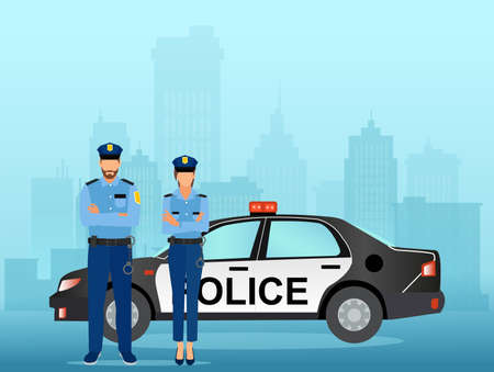 Vector of a man and woman police officers with a service car on a cityscape background.