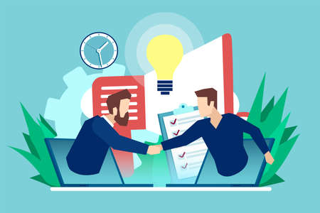 Vector of a two businessmen communicating online having agreement and shaking hands.