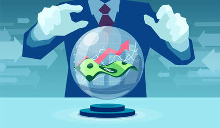 Vector of a business man giving market forecast with crystal ball