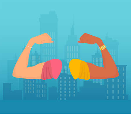 Community, unity, race and equal opportunity concept. Vector of white and black hands flexing biceps