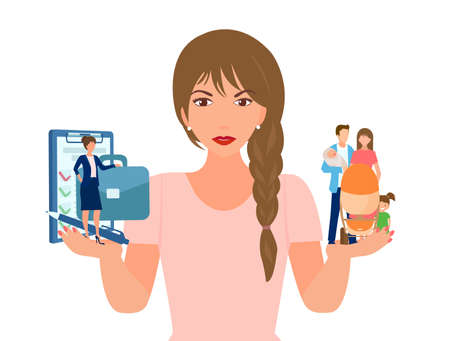 Vector of a young woman choosing between family and professional career success.