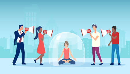 Vector of a young woman sitting inside glass dome meditating surrounded by people screaming in megaphones