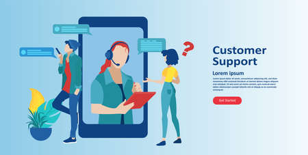 Online customer support concept. Vector of an mobile service operator with headset answering client questions  Illustration