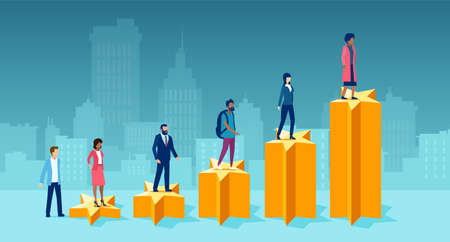 Vector of diverse people climbing up a step ladder composed of feedback golden stars Illusztráció