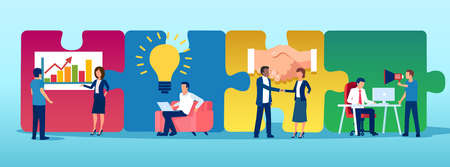 Vector of business people team working on a puzzle background