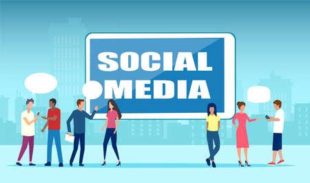 Vector of diverse people communicating together via social media online platforms