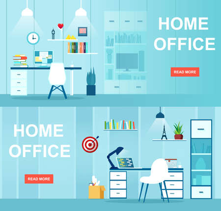 Vector of an office interior with desktop, business workspace. Workplace at home concept.