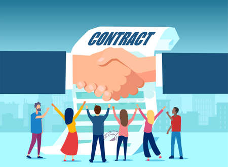 Vector of happy people standing on a background of a businessmen shaking hands and a contract document