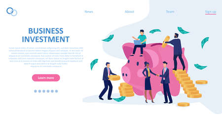 Vector of business people investing saving money, making agreement
