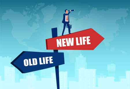 Vector of a businessman standing at crossroads signs looking into future new life