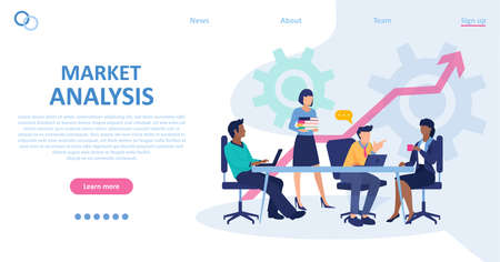 Vector of business people having a meeting conducting market analysis Stock Illustratie