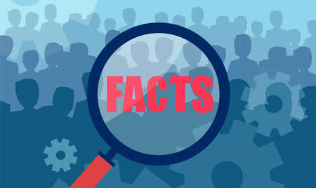 Vector of a magnifying glass over large crowd of people in search for facts Ilustrace