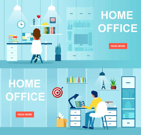 Vector of a man and woman sitting at desk working on the computer from home