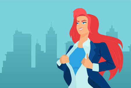 Vector of a super hero businesswoman on a cityscape background Vectores