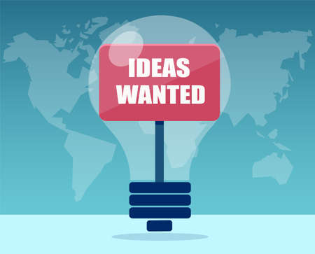 Vector of a light bulb with Ideas wanted message. Talent search and innovation concept