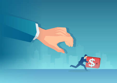 Vector of a man with wallet running away from a big businessman