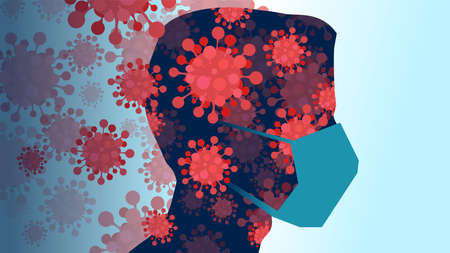 Vector of a man head silhouette wearing facial mask with coronavirus overlapping face