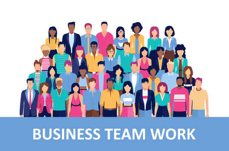 Vector of a large group of businessmen and businesswomen, company team Stock Illustratie