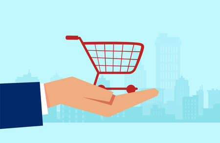 Vector of a customer hand holding a shopping cart on a cityscape background Stock Illustratie