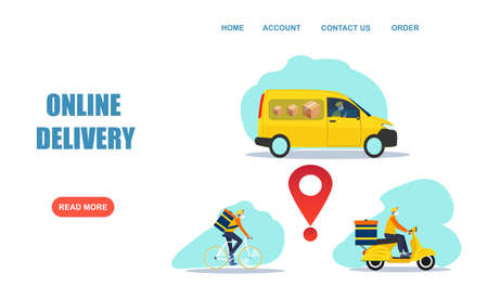 Online delivery service concept. Vector of a truck, scooter and bicycle courier, delivery men wearing face mask