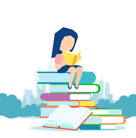 Vector of a little girl sitting on a pile of books and reading