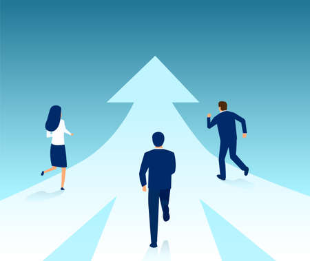 Vector of business people running from different directions towards same target. Stock Illustratie