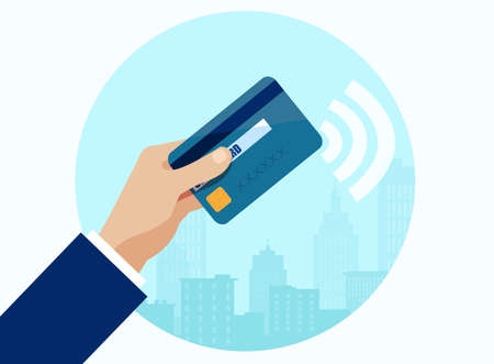 Vector of a businessman using contactless way of payment with credit card Stock Illustratie