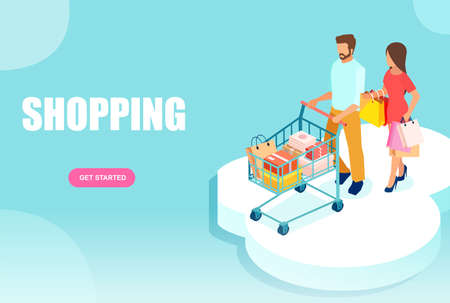 Vector of a young couple a woman and a man walking with shopping cart and paper bags.