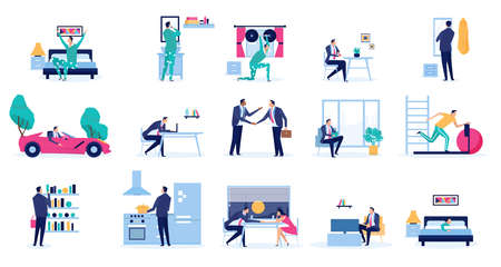 Vector set of a daily routine of a busy businessman