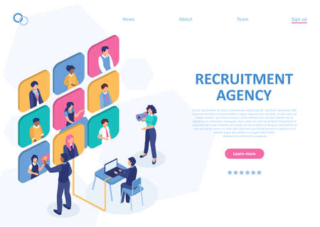 Employee job agency concept. Vector of a recruitment team hiring online people