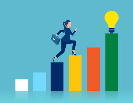 Vector of a smart business woman climbing up a career ladder Stock Illustratie