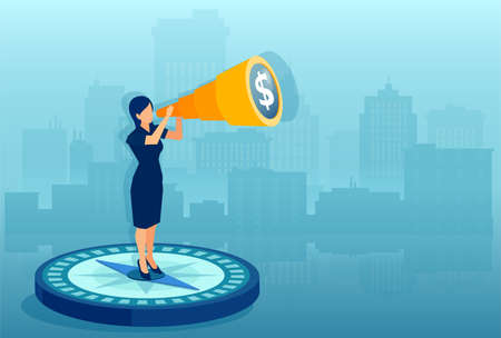 Business direction concept. Vector of a businesswoman standing on a compass looking into a financial future