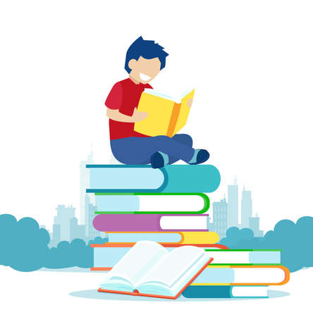 Vector of a little boy sitting on a pile of books and reading