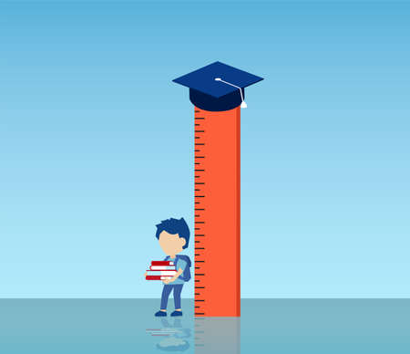 Vector of a little boy holding books standing by a ruler with graduation cap on top
