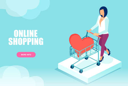 Isometric vector of a woman with shopping cart and red heart