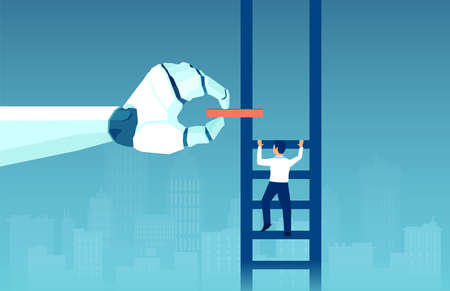 Vector of a robot hand helping climbing up business man