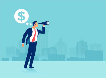 Vector of a businessman using binoculars looking into future thinking of big money Stock Illustratie