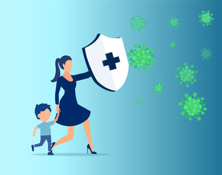 Vector of a young woman with a child holding knight shield to protect from viral infection